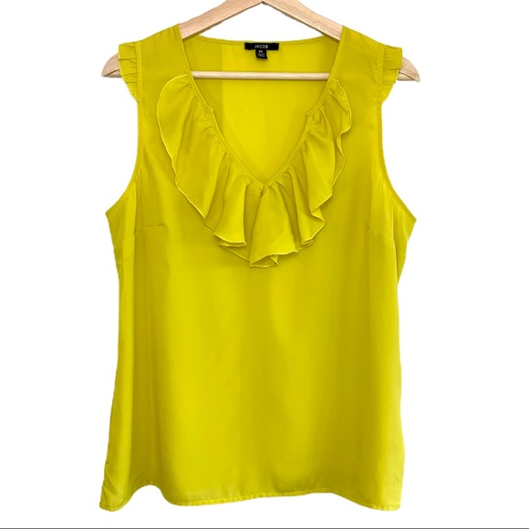 Jacob Ruffled V Neck Tank in Yellow